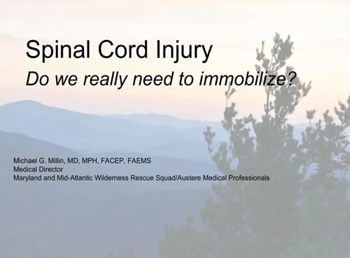 Management of Patients with Suspected Spinal Cord Injury - Michael Millin