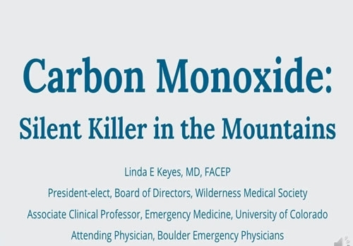 Carbon Monoxide Poisoning: The Silent Killer in the Back Country? - Linda Keyes