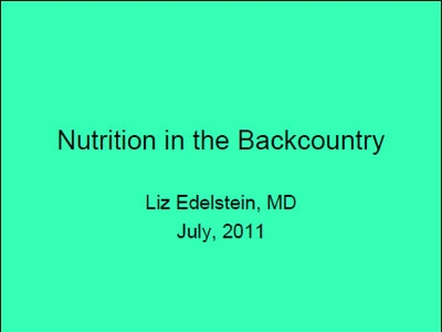 Nutrition and the Wilderness - Edelstein