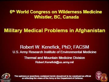 Military Medical Problems in Afghanistan - Bob Kenefick