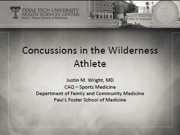 Concussions in the Wilderness Athlete - Justin Wright