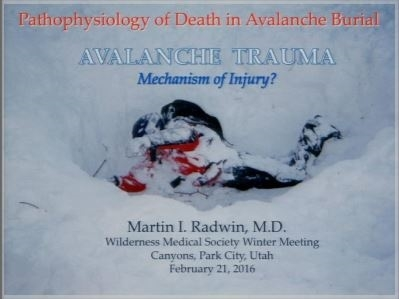 Avalanche Mechanism of Injury - Marty Radwin