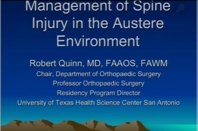 Management of Spine Injuries in the Wilderness - Bob Quinn