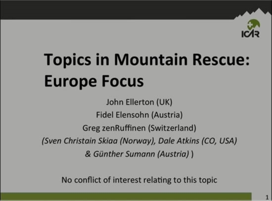 Topics in Mountain Rescue: Europe Focus - John Ellerton